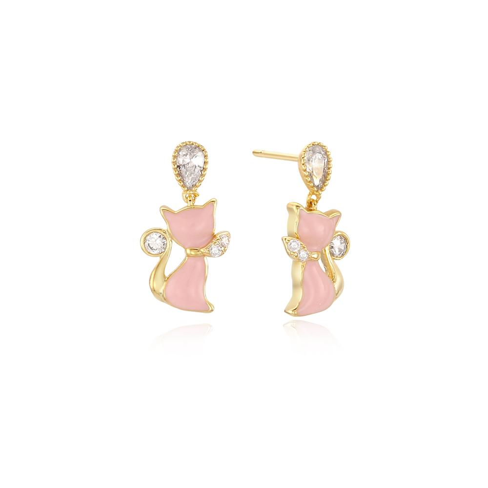 패션 그레이스캣 핑크 귀걸이