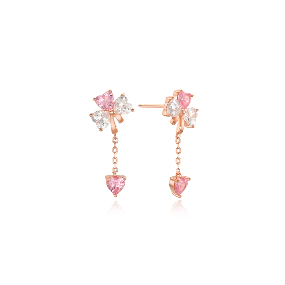 [Silver925] 래빗빨강리본 핑크하트체인 귀걸이