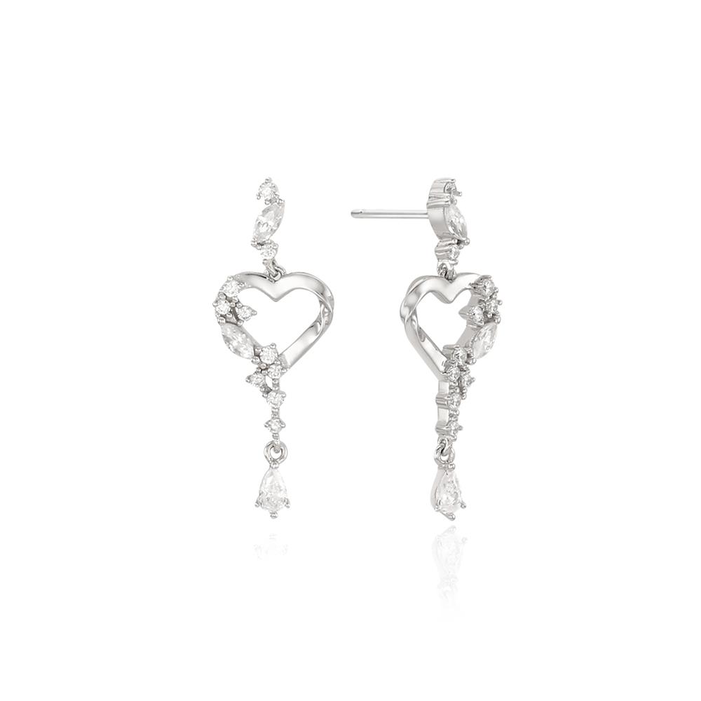 [Silver925] 히든하트링 귀걸이