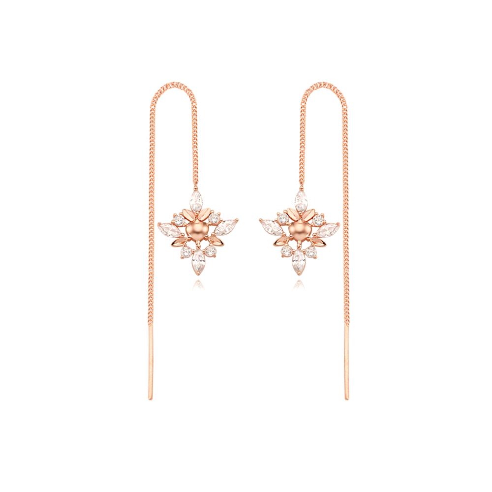 [Silver925] 눈부신 하트꽃 체인귀걸이