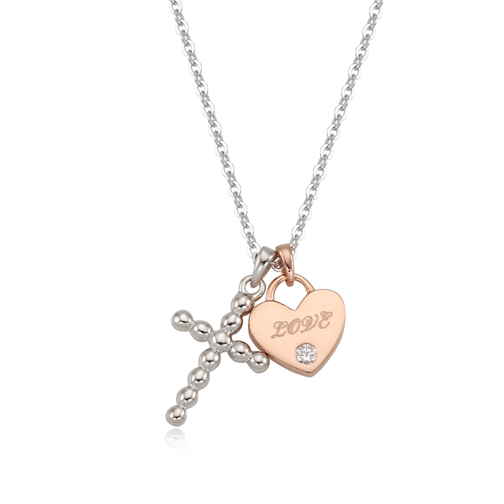 [Silver925] 십자가러브 목걸이