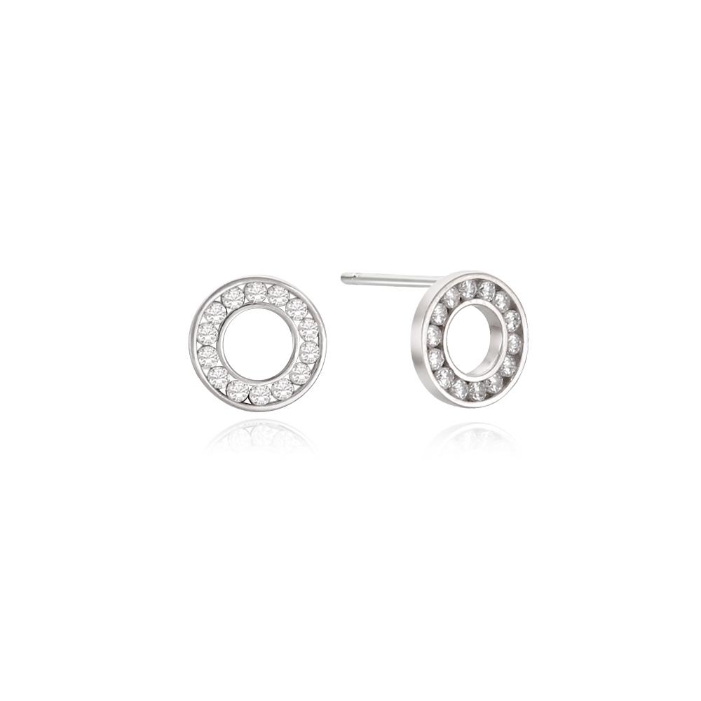 [Silver925] 라운드채널 귀걸이 (화이트)